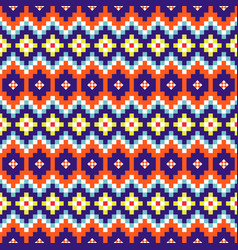 geometric rhobmus seamless blue and orange chevron vector image