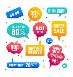 Gradient sales speech bubbles labels collection vector