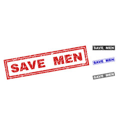 grunge save men textured rectangle stamps vector image