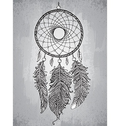 Hand drawn dream catcher with feathers in vector image