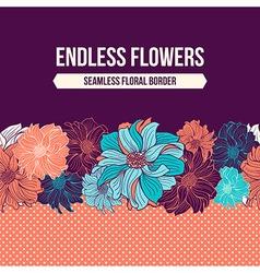 Hand-drawn flowers of dahlia seamless border vector