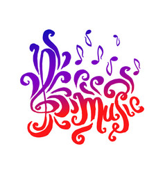 hand drawn of music lettering vector image