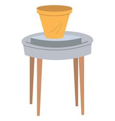 Handmade clay pot on table pottery hob vector