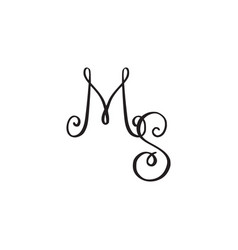handwritten monogram icon vector image