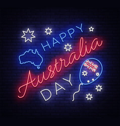 happy australia day neon sign neon banner vector image