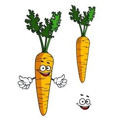 Happy cartoon carrot character vector