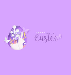 happy easter papercut flower egg and rabbit card vector image