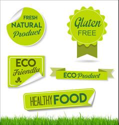 healthy natural food labels organic tags 4 vector image