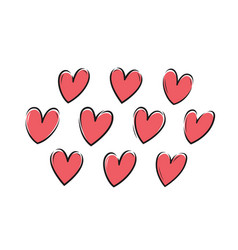 hearts set love valentine icon or symbol vector image