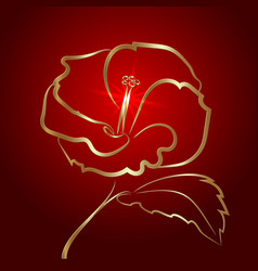 hibiscus flower sketch gold on red vector image