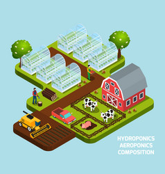 hydroponics isometric composition vector image