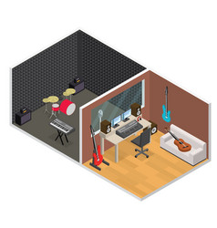 Interior recording studio isometric view vector