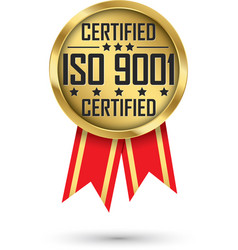 Iso 9001 certified gold label with red ribbon vector