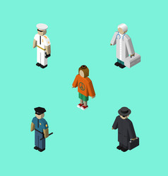 Isometric person set of detective lady officer vector