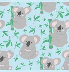 Koala doodle seamless pattern background vector