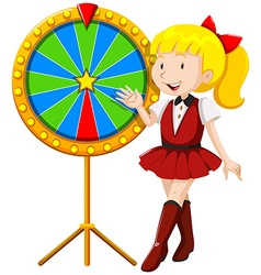 Little girl by the lucky wheel vector