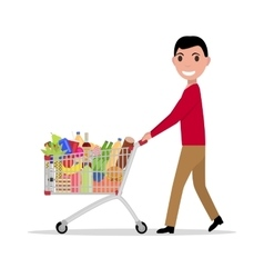 Man with shopping trolley full groceries vector
