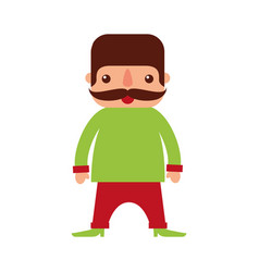 mexican man with mustache cartoon standing vector image