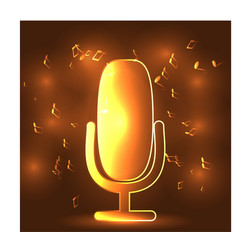 neon light glowing music with microphone symbol vector image