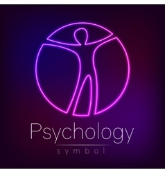 Neon Logo Modern man Sign of Psychology Human in vector image