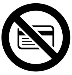 No credit card or only cash forbidden sign modern vector