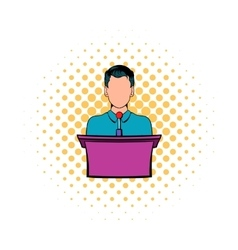 Orator speaking from tribune icon comics style vector image