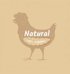 organic chicken vintage logo design banner vector image