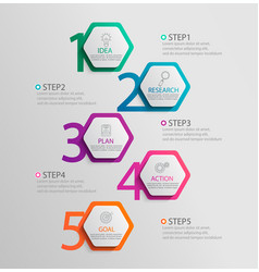 paper infographic vertical template with 5 vector image