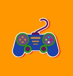 Paper sticker on background game joystick vector