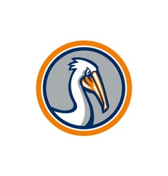 Pelican Head Circle Retro vector