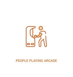 People playing arcade game concept 2 colored icon vector