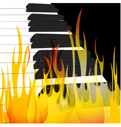 piano in flames abstract flowing flame background vector image