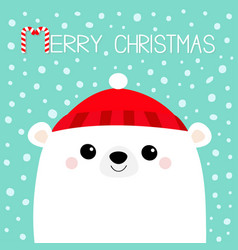 polar white bear cub face red hat happy new year vector image