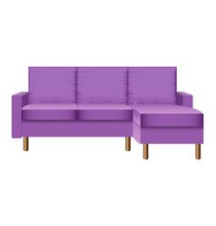 purple living room sofa mockup realistic style vector image