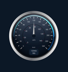 realistic detailed 3d speedometer on a dark vector image