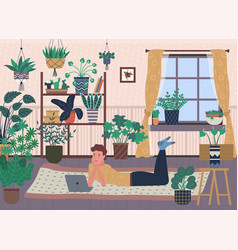 Room interior greenhouse with plants in pots vector