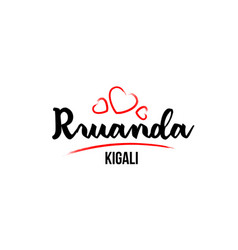 rwanda country with red love heart and its vector image