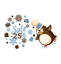 Sale 25 percent skating penguin in hat vector