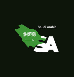 saudi arabia initial letter country with map and vector image