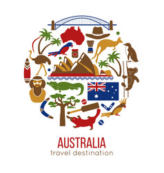 set of australia culture symbols collection icons vector image