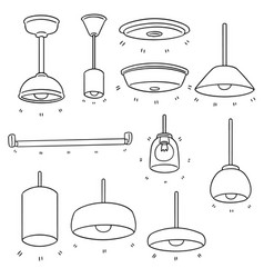 set of ceiling lamp vector image