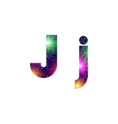 Set of letters firework J vector