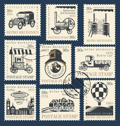 set postage stamps on theme retro vector image