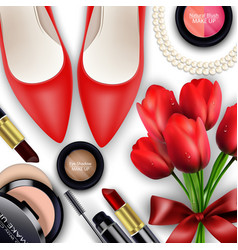 Sets cosmetics background with red tullips vector