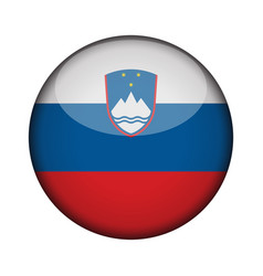 Slovenia flag in glossy round button of icon vector