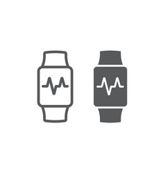 smart watch line and glyph icon electronic vector image