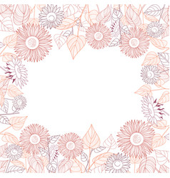 square frame of sunflowers line drawing on white vector image