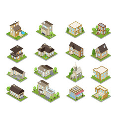 Suburbia buildings icons set vector