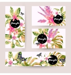 Summer set cards with tropical green leaves vector