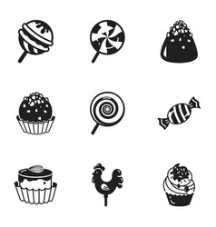 Sweet candy icon set simple style vector